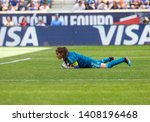 Small photo of Harrison, NJ - May 26, 2019: Goalkeeper Cecilla Santiago (1) of Mexico saves during friendly game against USA as preparation for Womens World Cup on Red Bull Arena USA won 3 - 0