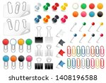 pins paper clips. push pins... | Shutterstock .eps vector #1408196588