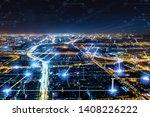 modern city with wireless... | Shutterstock . vector #1408226222