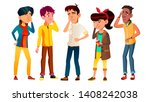 ashamed teenagers with gesture... | Shutterstock .eps vector #1408242038