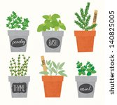 herbs collection | Shutterstock .eps vector #140825005