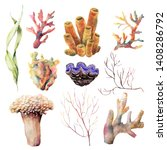 watercolor set with coral reef... | Shutterstock . vector #1408286792