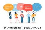 people talk using speech bubble.... | Shutterstock .eps vector #1408299725