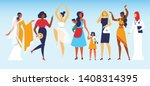 group of young diverse... | Shutterstock .eps vector #1408314395