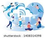 social media network lifestyle... | Shutterstock .eps vector #1408314398