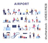 people in the airport set. idea ... | Shutterstock .eps vector #1408319828