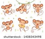 cute monkeys. jungle wild...   Shutterstock .eps vector #1408343498