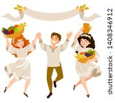 happy people carrying crops on... | Shutterstock . vector #1408346912