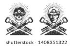 mine logo with a miner head and ... | Shutterstock .eps vector #1408351322