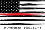 grunge usa flag with a thin red ... | Shutterstock .eps vector #1408351745