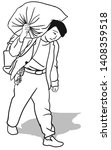 the man is carrying a heavy... | Shutterstock .eps vector #1408359518