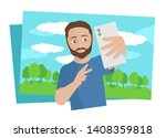 young man holding phone and... | Shutterstock .eps vector #1408359818