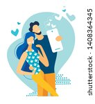young happy couple making...   Shutterstock .eps vector #1408364345
