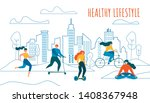cartoon man and woman cycling ... | Shutterstock .eps vector #1408367948