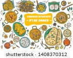 drawing of top view iftar...   Shutterstock .eps vector #1408370312