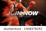 boxing course ads with woman... | Shutterstock .eps vector #1408378292