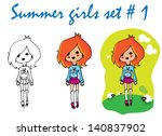 tattoo girl  summer doll icons... | Shutterstock .eps vector #140837902