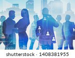 silhouettes of business people... | Shutterstock . vector #1408381955