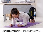 female employee doing sport... | Shutterstock . vector #1408390898