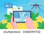 flat hand with tablet  drone at ... | Shutterstock .eps vector #1408394732