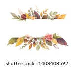 Watercolor Autumn Banner With...