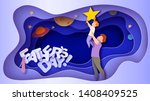 father lifting up to the sky... | Shutterstock .eps vector #1408409525