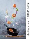 Fresh Fried Shrimp Fly Into A...