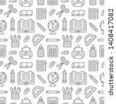 school supplies seamless... | Shutterstock .eps vector #1408417082