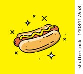 hot dog line icon. american... | Shutterstock .eps vector #1408417658