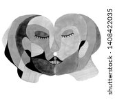 kiss in abstract style. hand... | Shutterstock . vector #1408422035