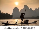 boat with cormorants birds ... | Shutterstock . vector #140842492