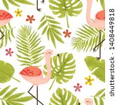 seamless pattern with cute pink ... | Shutterstock .eps vector #1408449818