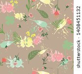 vector hand drawn floral... | Shutterstock .eps vector #1408451132