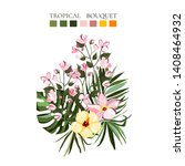 tropical exotic flowers... | Shutterstock .eps vector #1408464932