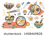 collection of ramen in bowls... | Shutterstock .eps vector #1408469828