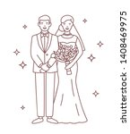 smiling bride and groom drawn... | Shutterstock .eps vector #1408469975