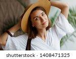indoor close up portrait of... | Shutterstock . vector #1408471325