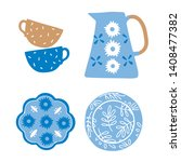 kitchen clay  ceramic pottery... | Shutterstock .eps vector #1408477382