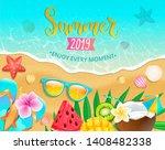 summer 2019 top view banner.... | Shutterstock .eps vector #1408482338