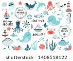 under the sea set   cute whale  ... | Shutterstock .eps vector #1408518122