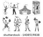 retro circus performance set... | Shutterstock .eps vector #1408519838