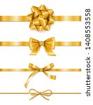 set of golden ribbons with bows ... | Shutterstock .eps vector #1408553558