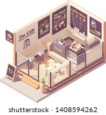 vector isometric coffee shop or ... | Shutterstock .eps vector #1408594262