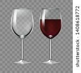 big reds wine empty glass and... | Shutterstock .eps vector #1408618772