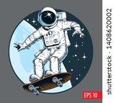 Astronaut Rides On Skateboard...