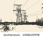 high voltage tower. electric...   Shutterstock .eps vector #1408620998