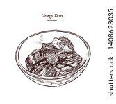 unagi donburi. japanese cuisine ... | Shutterstock .eps vector #1408623035