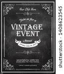 chalkboard vintage poster  ... | Shutterstock .eps vector #1408623545