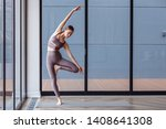athletic young girl yoga... | Shutterstock . vector #1408641308