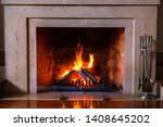 Burning Fireplace. Wood Burnin...